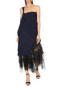 One Shoulder Draped Jersey Tulle Dress