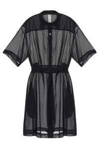 Sheer Waist Tie Shirtdress