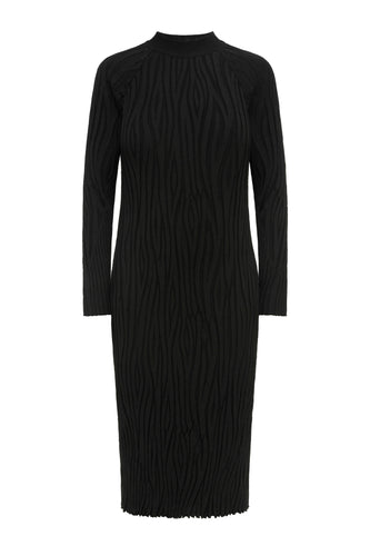 Wave Knit Mock Turtleneck Dress