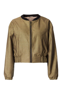 Metallic Wool Bomber Jacket