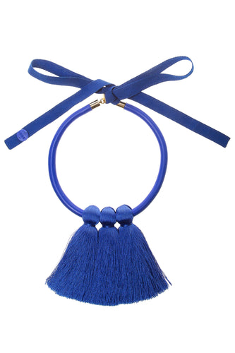 Triple Tassel Necklace - Blue