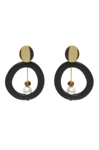 Circle Pearl Drop Earrings