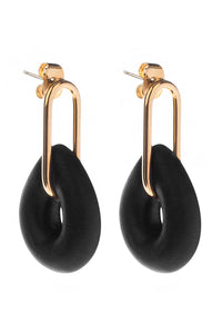 Resin Teardrop Earrings - Black