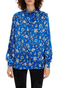 Silk Balloon Sleeve Blouse