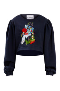 Embroidered Peacock Sweater - Black