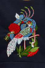 Load image into Gallery viewer, Embroidered Peacock Sweater - Black