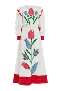 Helen Linen Maxi Dress - White/Red