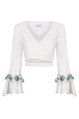 Embroidered Linen Wrap Top