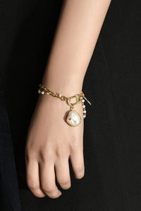 Double Chain Hammered Pearl Bracelet
