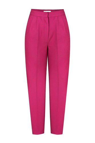 Tapered Pleated Trousers - Pink