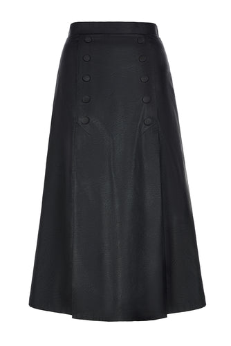 Double Button Midi Skirt - Black