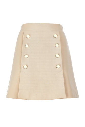 Double Button Mini Skirt - Beige