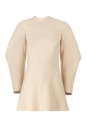 Lantern Sleeve Mini Dress - Beige