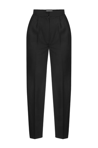 Tapered Pleated Trousers - Black