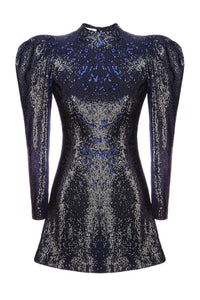 Bold Shoulder Mini Dress - Sequins