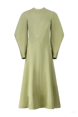 Lantern Sleeve Midi Dress - Green