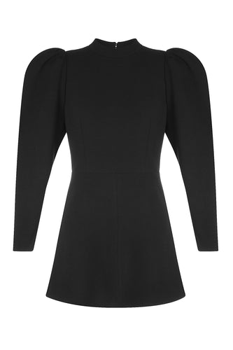 Bold Shoulder Mini Dress - Black