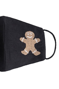 Embroidered Gingerbread Man Mask - Black