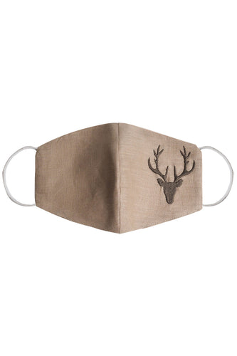 Embroidered Reindeer Mask - Beige