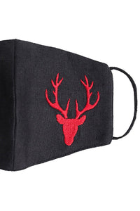 Embroidered Reindeer Mask - Black