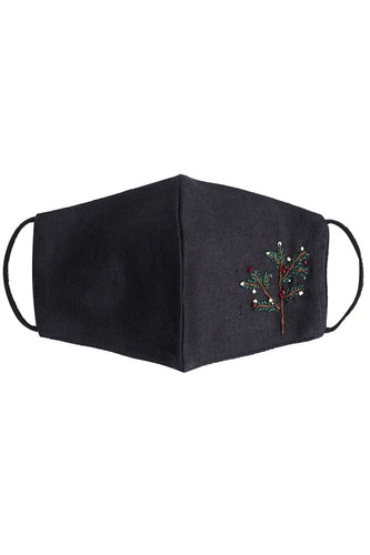 Embroidered Mistletoe Mask - Black