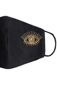Embroidered Eye Mask - Gold