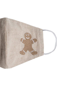 Embroidered Gingerbread Man Mask - Beige