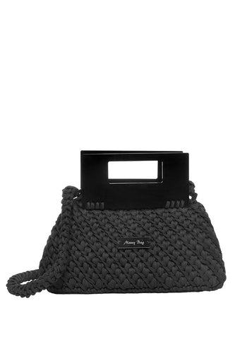 Plexiglass Top Handle Knit Bag - Black