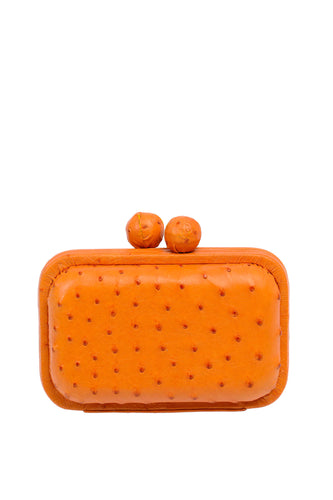 Ostrich Box Clutch - Orange