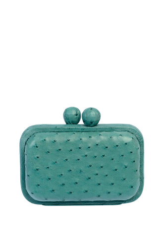 Ostrich Box Clutch - Turquoise