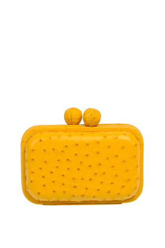 Ostrich Box Clutch - Yellow