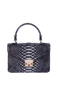 Python Top Handle Envelope Bag - Charcoal
