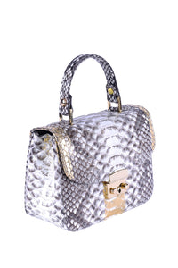 Python Top Handle Envelope Bag - Grey