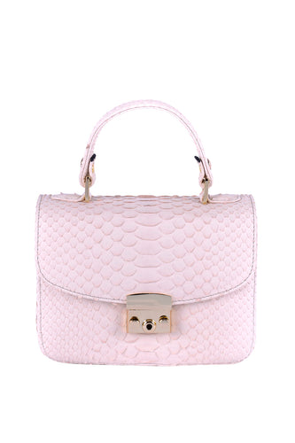 Python Top Handle Envelope Bag - Pink