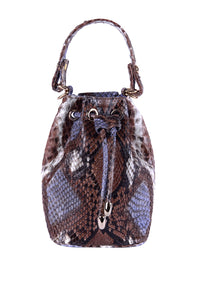Python Drawstring Bag - Brown