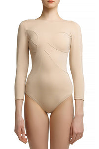 Asymmetric Panel Bodysuit — Beige