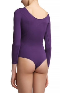 Asymmetric Panel Bodysuit — Purple