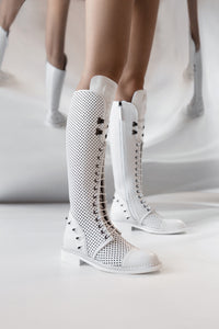 Enyo Perforated Leather Boots - White
