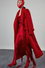 Load image into Gallery viewer, Pompom Wool Coat - Red