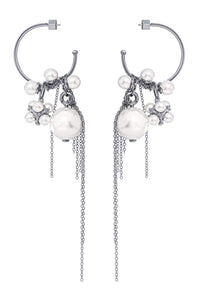 Pearl Chain Hoop Earrings