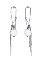 Load image into Gallery viewer, Pearl Chain Long Earrings