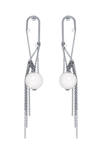 Pearl Chain Long Earrings