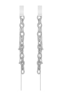 Mesh Link Chain Crystal Earrings