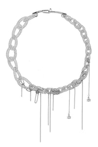 Mesh Link Chain Crystal Choker Necklace