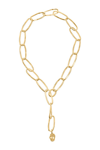 Dangling Serpent Link Necklace - Gold