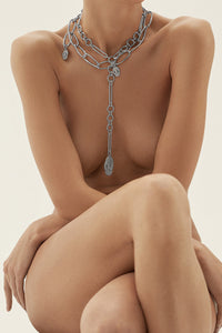 Dangling Serpent Link Necklace - Silver