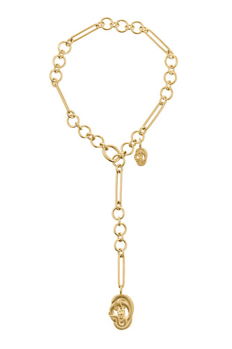 Double Serpent Link Necklace - Gold