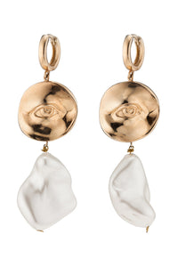 Pearl Eye Drop Earrings - Gold