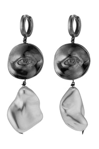 Pearl Eye Drop Earrings - Silver