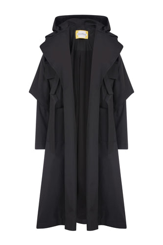Fisherman Waterproof Trench Coat - Black